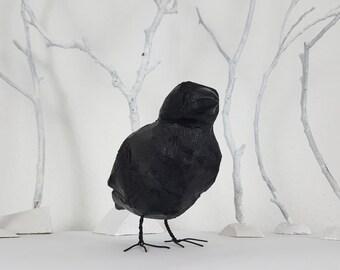 Folk Art Wooden Crow Sculpture