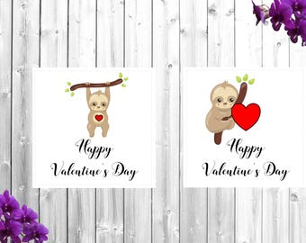 Sloth valentine's card, valentine's card, greetings card, love, sloth, cute card, card for him, card for her