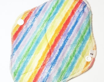 Cloth Mama Pad / Reusable Cloth Pad - Regular Flow  - Rainbow Stripes Printed 8 Inch FREE Shipping