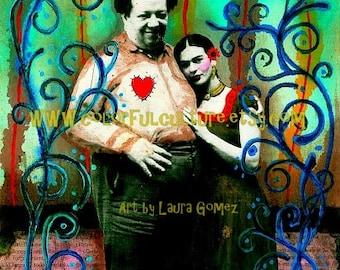 "Un Amor a la Mexicana"" Art Print by Laura Gomez on Archival Matte Paper- Frida Kahlo and Diego Rivera Art Print - Mexican Art"