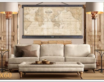 World map tapestry etsy large vintage world map world map in antique colors world map grand canvas wall gumiabroncs Gallery