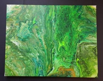 Original Painting Abstract Its Not Easy Being Green 16x20 Acrylic Canvas Fluid