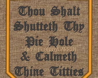 Thou Shall Shutteth  Wall Art 8x10. Machine Embroidered