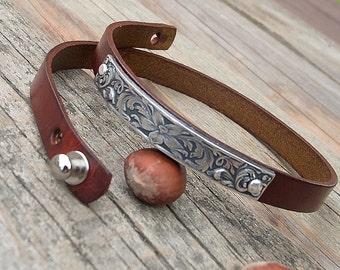 Women's leather bracelet, Wrap around leather bracelet, Embossed floral leather bracelet, Boho floral bracelet