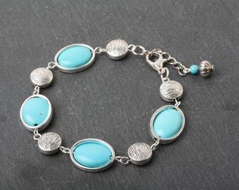 Turquoise Bracelet, Turquoise and Silver Bracelet, Turquoise Jewelry, Boho Bracelet, Gift for her, Unique Bracelet, Made in Canada