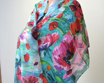 Poppy Fantasy 100% Silk Scarf, Chiffon Scarf, Shawl, Sheer Wrap, Wearable Art, Art Scarf