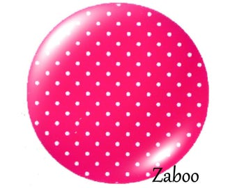 2 cabochons 18mm glass, dots, pink tone
