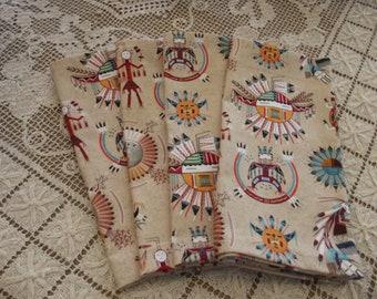 Southwestern Style Handmade Cotton Napkins, Fabric Napkins, Southwestern Napkins, Southwestern Decor Dinner Napkins