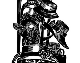 TRYING ON HATS linocut