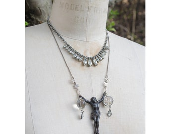 antique, art deco, undrilled, sterling-floral-wrapped POOLS OF LIGHT assemblage necklace w/antique Christ figure, sterling chain