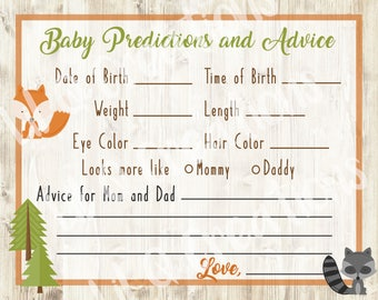 Woodland Creatures Baby Shower Prediction Game Cards