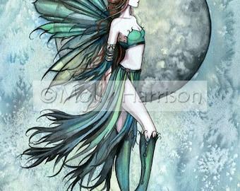 Fairy Faery Art Print by Molly Harrison 'Fearless' Beautiful Fantasy Watercolor Art Print