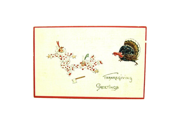 Antique Comic Thanksgiving Postcard, 1910s Germany
