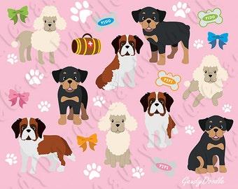 Dogs Clipart - Poodle, Saint Bernard, Rottweiler