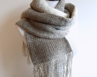 Double Knit Scarf with Fringe - Tan & Cream Winter Scarf - Warm Wool Blend Women's Scarf - Men's Scarf - Taupe and Off-White Knitted Scarf