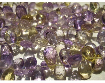 Ametrine - Ametrine Faceted Pear Shape Briollets 6x11mm to 9x6mm  - 8 Inch Strand 52 Pieces