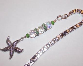 AB Clear Green Rhinestone Green Crystal Starfish Tibetan Silver Bookmark