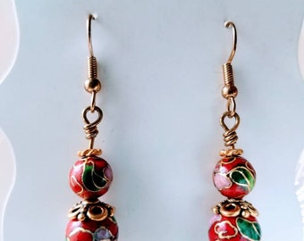 Red Closionne Wire Wrapped Earrings
