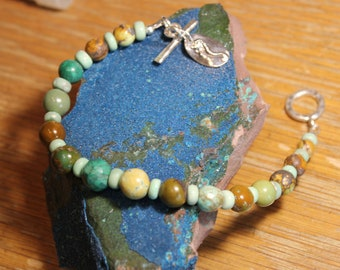 American Turquoise handmade bracelet, one of a kind only by EvyDaywear, natural stone and Sterling silver