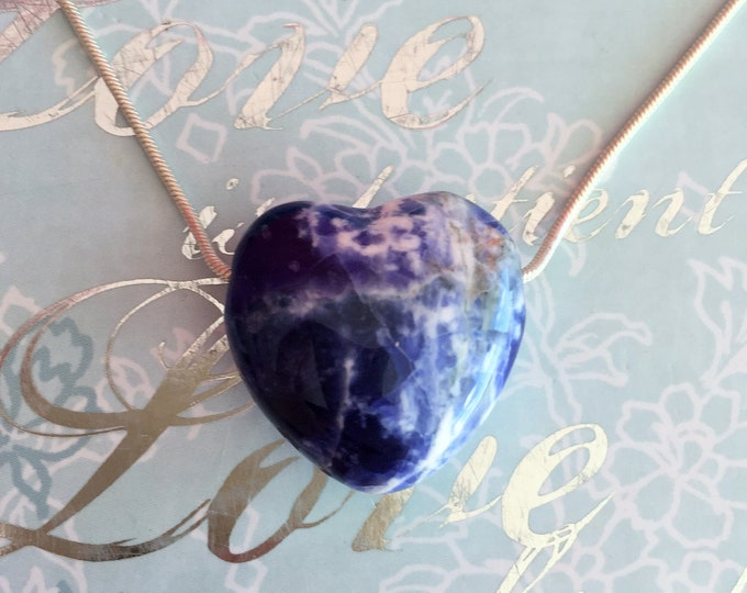 SODALITE Heart Pendant Jewelry, Rose Quartz HEART Necklace /  Healing Crystals and Stones Jewelry