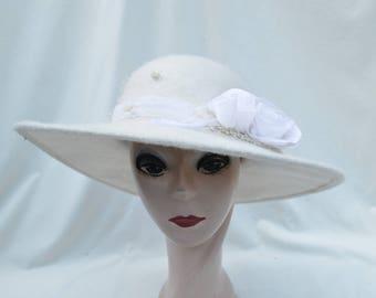 Ivory Wool Large Brim Hat With Silk Flower Trim / Bridal Winter Wedding Hat / Brim Ivory Wool Hat / Millinery