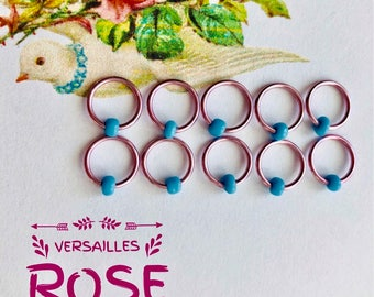 knitting, stitch markers, ring markers, ringos, stitch markers , galentines gift VERSAILLES ROSE