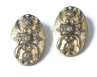 Oval Flower Earrings Victorian Revival Gold Tone Larger Whiting and Davis Signed