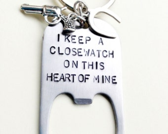 Custom Johnny Cash Keychain, Hand Stamped Bottle Opener, I Keep A Close Watch On This Heart Of Mine, Keychain, Natashaaloha