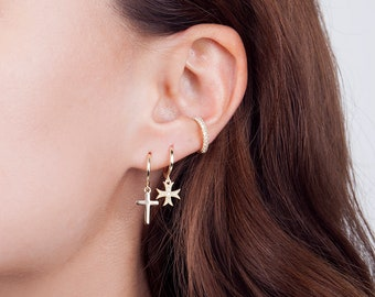 Cross hoop earrings - minimal hoops - small dainty hoops - cross hoops - minimalist jewelry - small hoops - silver cross earrings