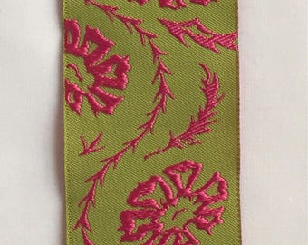 """Lime Green and Hot Pink Jacquard Ribbon   1 1/2 """" wide"""