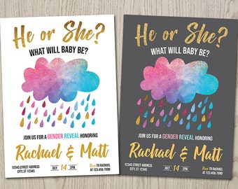 Rain Cloud Gender Reveal Invitation, Cloud Gender Reveal Invitation, He or She, Blue or Pink, Personalized Printable Digital Gender Reveal
