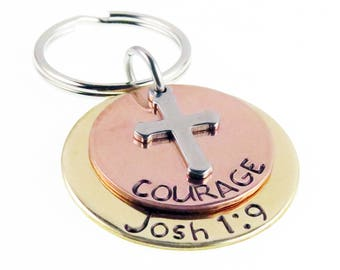 Be Strong and Courageous Hand Stamped  Joshua 1:9  Key chain | Scripture  | Unique Gift | Holiday Stocking Stuffer | Gifts for Everyone