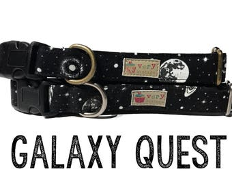 "Sci Fi Dog Collar - Outer Space Dog Collar - Spaceship Planets Outer Space Dog Collar - Antique Metal Hardware - ""Galaxy Quest"""