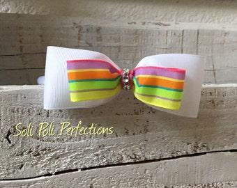 Rainbow Hair Bow, Pastel Rainbow Hair Bow, Pastel Hair Bow, Rainbow Headband, Boutique Bow
