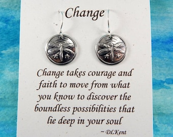 Dragonfly Earrings, Inspirational Jewelry, Change Symbol, Dragonfly Jewelry, Transformation Jewelry, Fine Silver Earrings