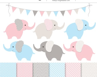 Pink, Blue and Gray Baby Elephants 13 Piece Digital Clip Art and Backgrounds Set - Baby Shower, Girl, Boy, Twins, Elephant, Baby Animal
