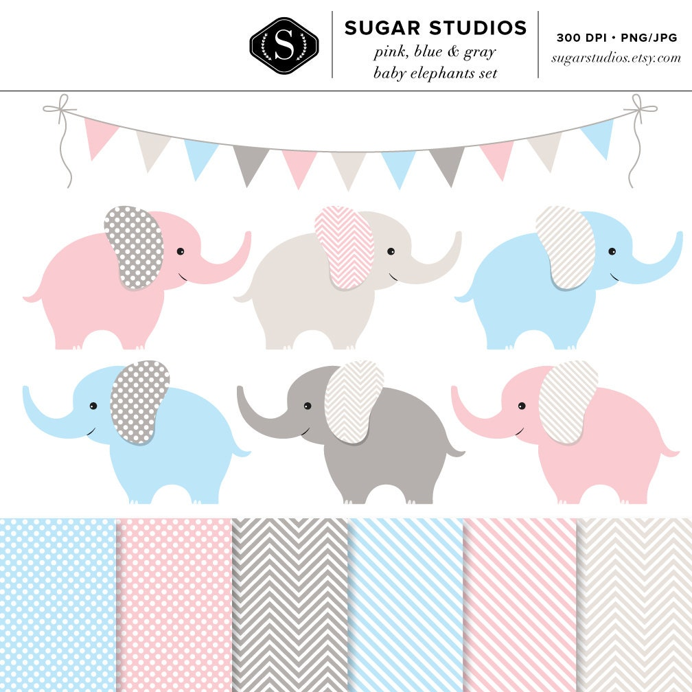 Gianna S Pink And Gray Elephant Nursery Reveal: Pink Blue And Gray Baby Elephants 13 Piece Digital Clip Art