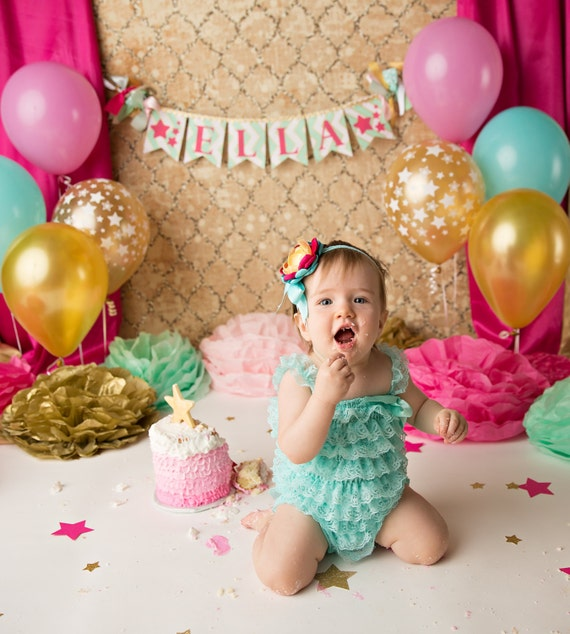 Personalised New Baby Or Birthday Card By Mint Nifty: CAKE SMASH BANNER / 1st Birthday Girl / 1st Birthday Banner