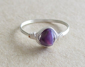 Charoite gemstone chip bead wire wrapped ring pinky ring - size 4 3/4