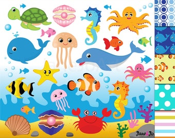 50%OFFSALE Sea Animal Clipart,Sea Animals Clipart,Sea Creatures Cliparts, fish clip art Sea Animal,Ocean Animals Sea ClipArt digital papers