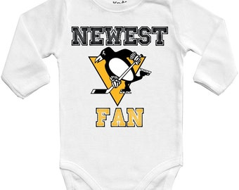 Pittsburgh Penguins Newest fan, NHL Baby Vest Baby Bodysuit Funny Baby Child One Piece boy's girl's Clothing girl Kid's Shower Bodysuits Top