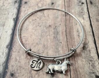Corgi initial bangle - Corgi jewelry, dog breed bracelet, Corgi dog bangle, Welsh corgi jewelry, dog breed jewelry, silver Corgi pendant