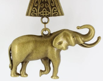 Large Elephant Antique Brass Scarf Pendant ~ Scarf Accessory~ Scarf Charm