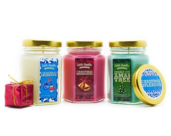 Christmas Gift Set Of 3 Scented Soy Candles | Hand Poured -- 4oz