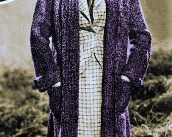 1930s Swagger Coat Knee Length with Pockets as Modeled by 1930s Movie Starlet-  Knit pattern PDF 0927 a