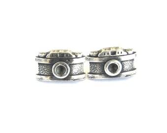 Appareil photo rétro boucles d'oreilles en argent Sterling Ox finition