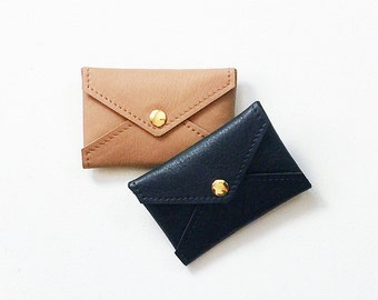 Leather Credit Card Wallet, ID Wallet, Business Card Wallet, Gift Card Holder, Metro Card Pouch, Minimal Credit Card Case, Envelope Wallet