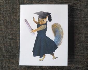 Girl Squirrel Grad Printable Graduation Card