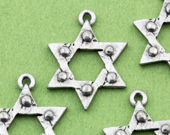 Vintage Silver Color Jewish Star of David Pendant Charms 25x23mm 4pcs for Necklace, Bracelet, Earrings and Craft 10511003