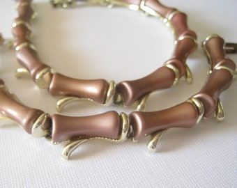 Vintage Brown Spinal Necklace and Bracelet